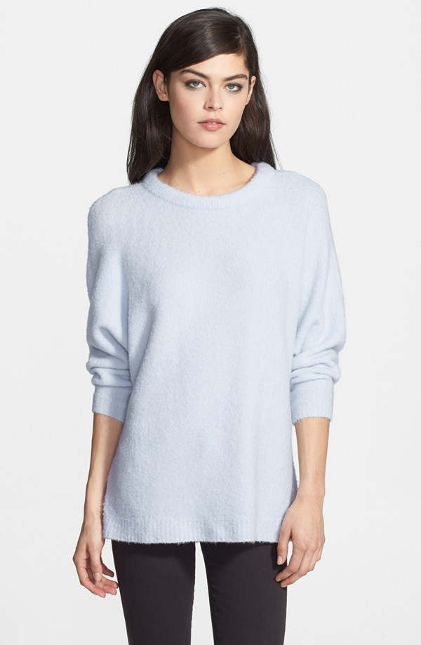 Chelsea28 Dolman Sleeve Brushed Sweater. Available in blue heather, cream cloud, heather grey. Nordstrom. Was: $88 Now: $52.