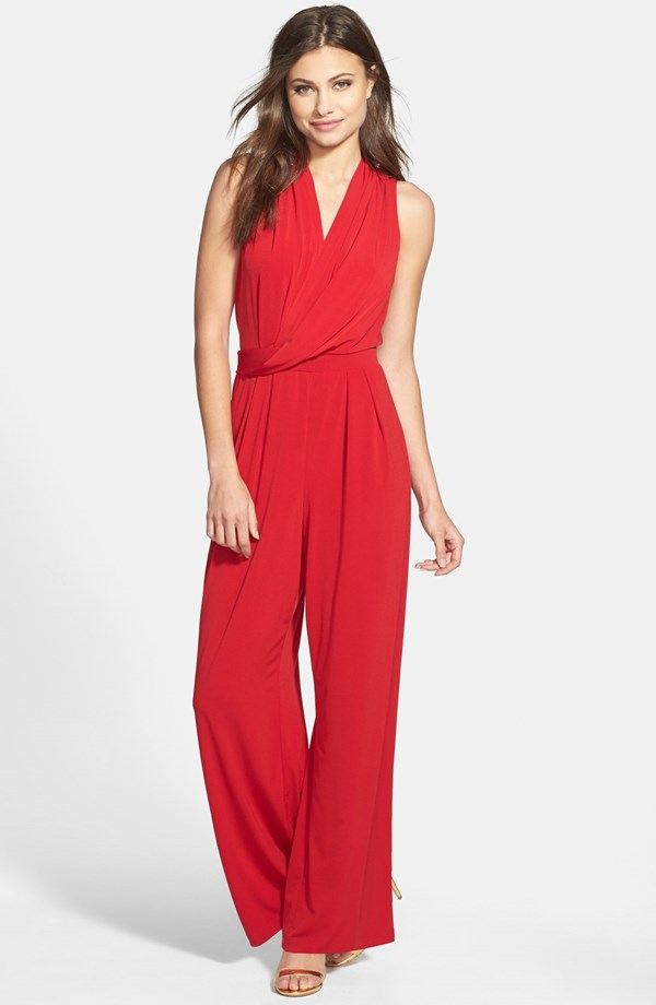 Show off those curves! Rectangles, hourglass, triangles can all rock this one piece. Donna Ricco Drape Front Wide Leg Jumpsuit. Nordstrom. $98.