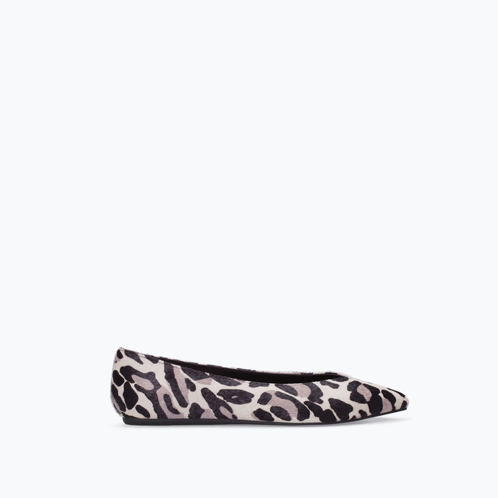Printed Leather Pointy Ballet Flat. Zara. $79.90.