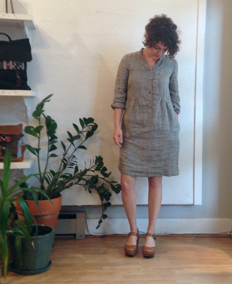 Artist's Smock Dress in Black Linen by Nuthatch. Velouria. $285.