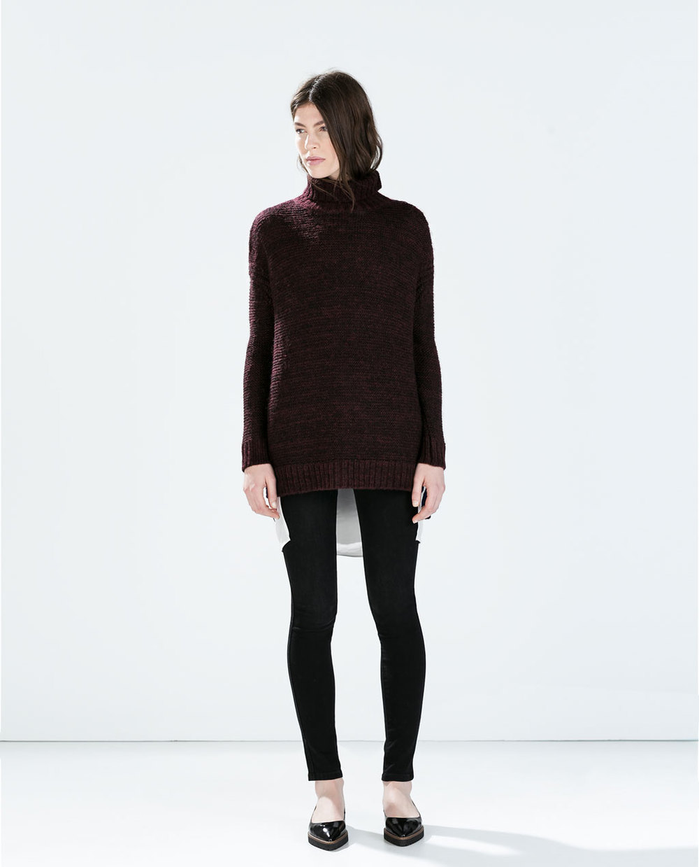 Detailed Knit Top. Available in dark aubergine, navy, black. Zara. $39.90.