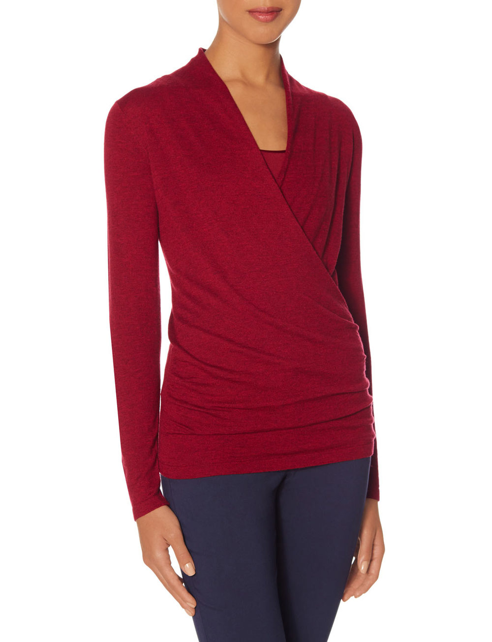Tall Wrap Look Sweater. Available in red, navy, mint green. The Limited. $49.95.