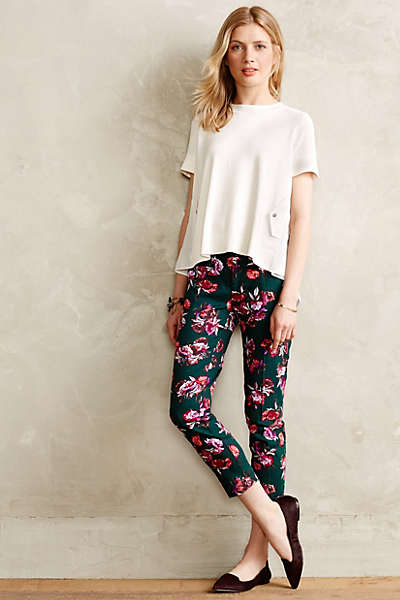 Floral Charlie Trousers. Available in green motif. Anthropologie. $79.95.