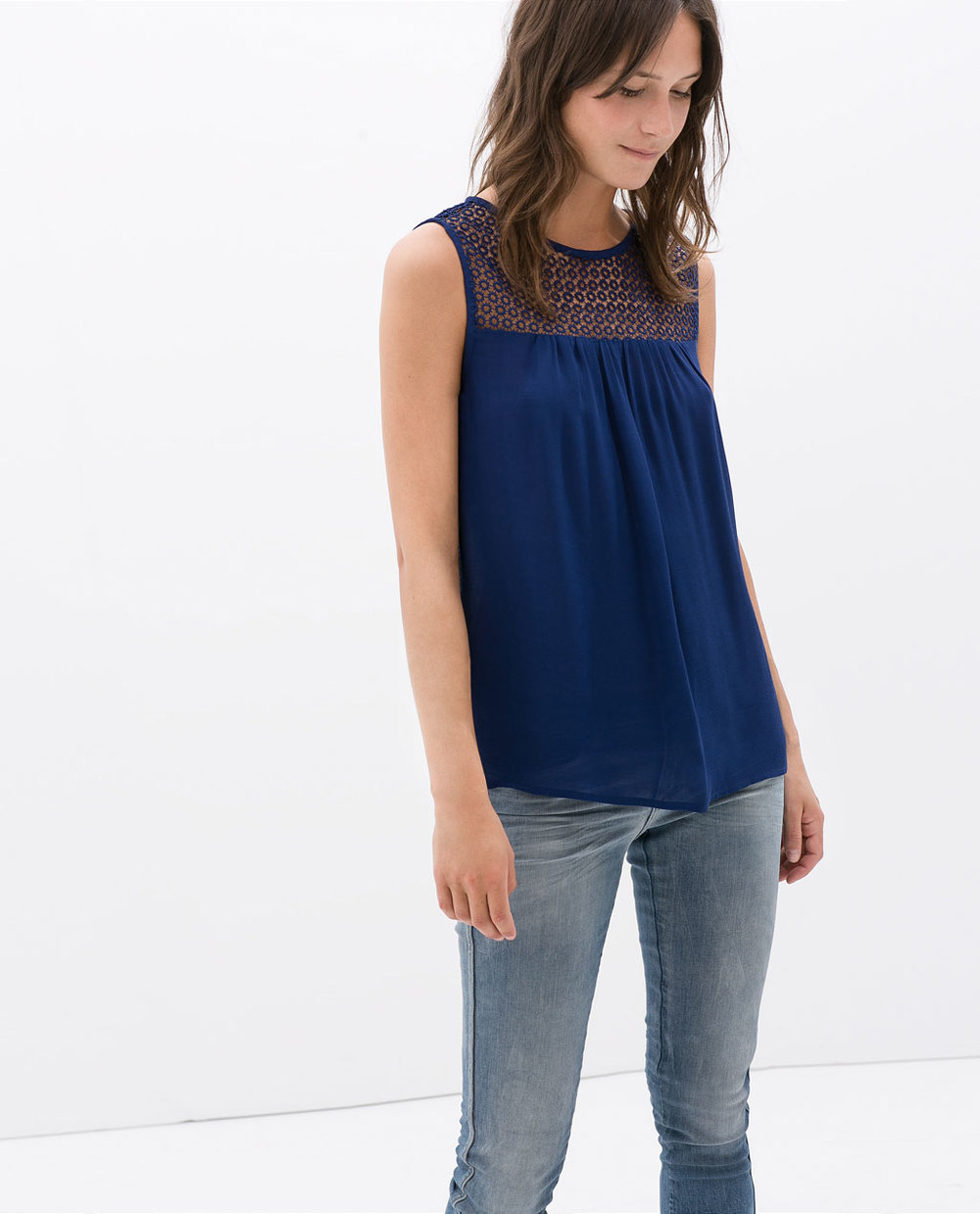 Combined Guipure Top. Available in blue, off white, nude (Please don't buy the nude. Good lord.) Zara. $49.90.