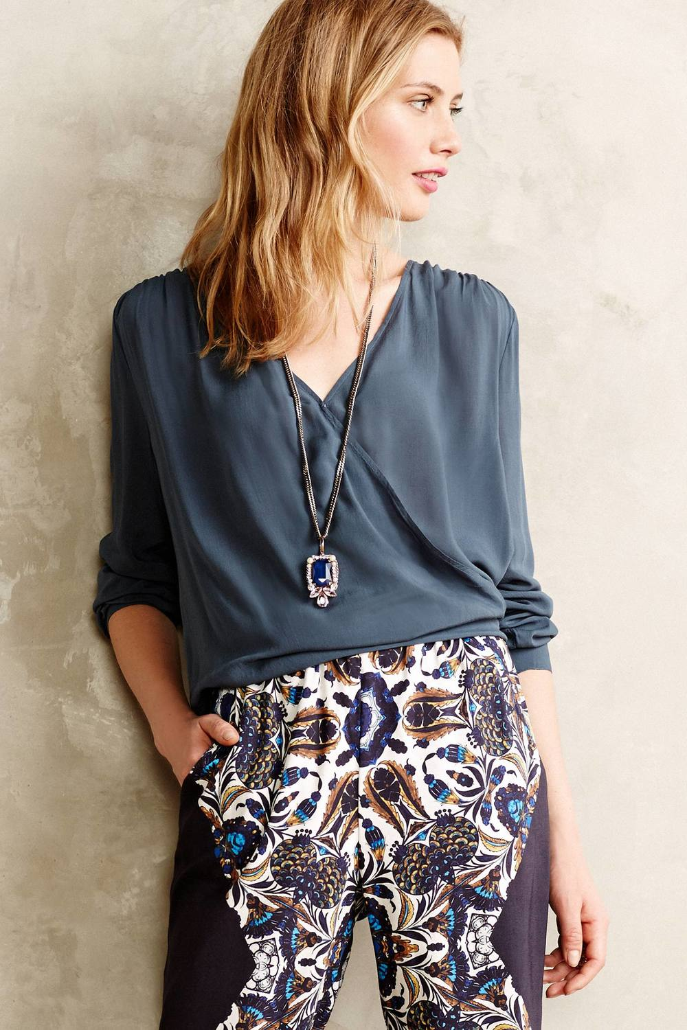 Swathed Wrap Blouse. Available in three colors. Anthropologie. $98.