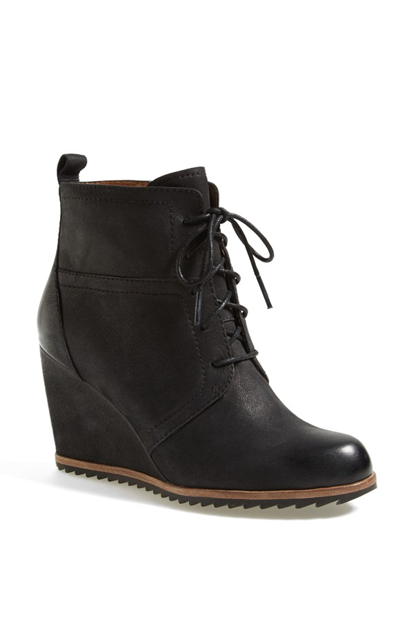 Biala Alyssa Lace Up Wedge Boot. Available in black, ebony, grey. Nordstrom. $119.