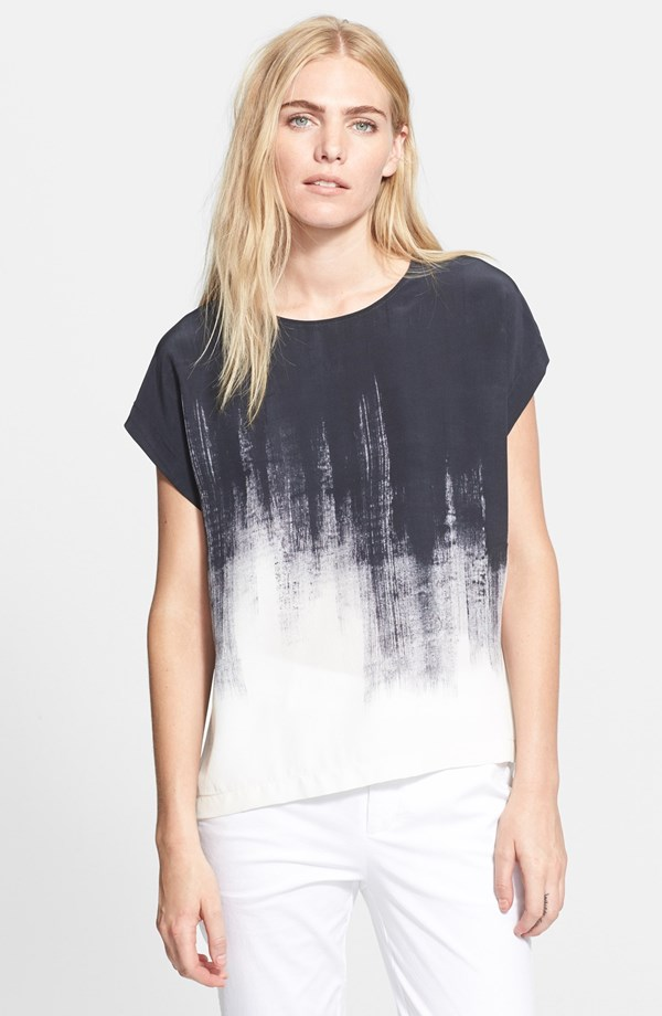 Vince Brushstroke Print Silk Tee. Off White/Black. Nordstrom was out of the size (feel free to check back- same price). Neiman Marcus. $275.