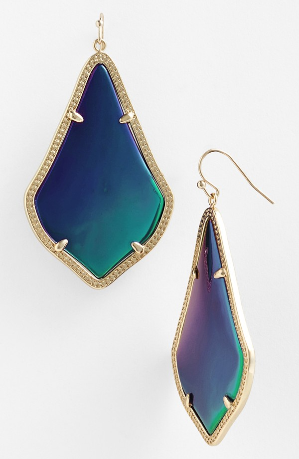 Kendra Scott Alexandra Large Drop Earrings. Choose Black/iridescent/ gold. Nordstrom. $75.