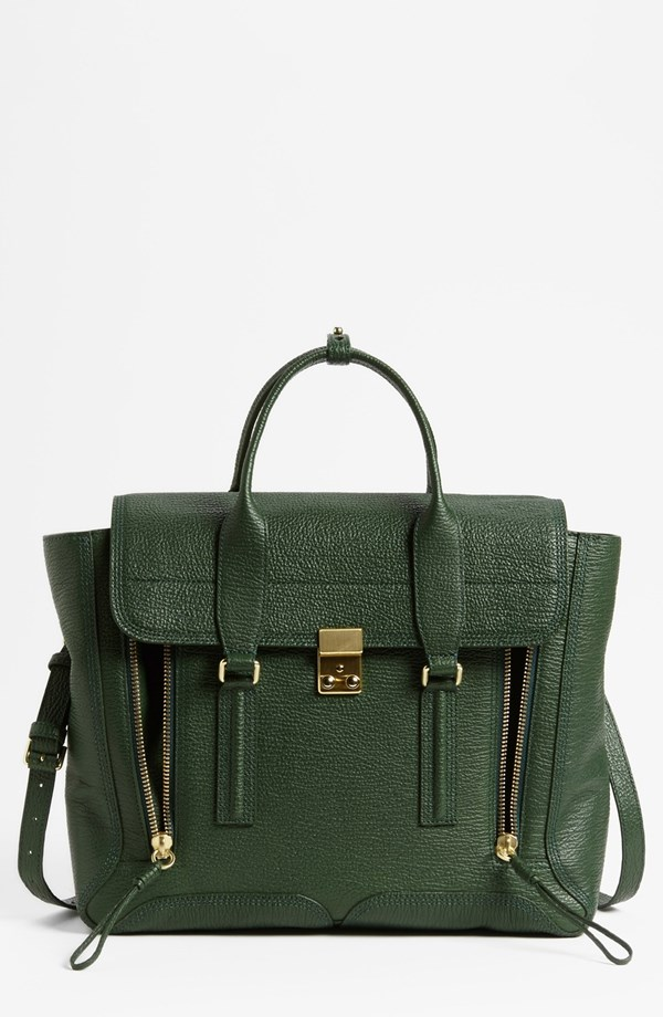Phillip Lim Pashli Leather Satchel. Available in multiple colors. I vote for Jade. Nordstrom. $975.