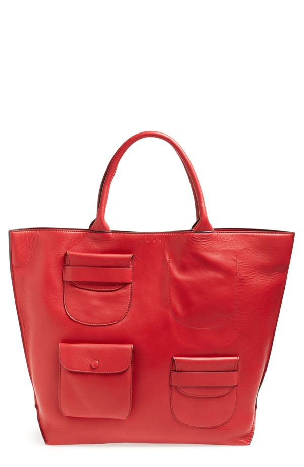 Marni Multipocket Leather Tote. Available in fire. Nordstrom. Was: $1,490. Now: $890.