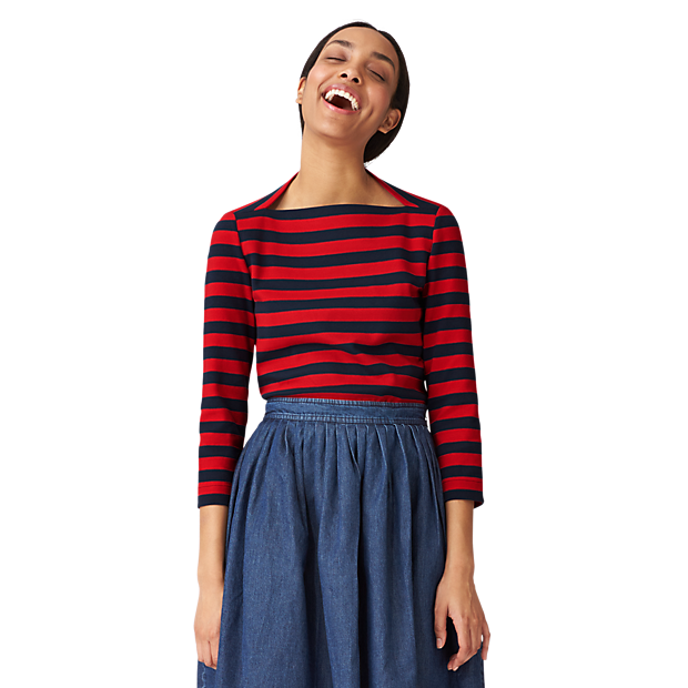 Kate Spade Saturday Striped 3/4 Sleeve Slip Neck Tee in Ponte. Saturday. $65. Right now EVERYTHING on the site is 40% off with code: EXTRA40. OMG.