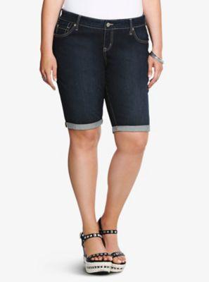 Skinny Bermuda dark Rinse Shorts. Torrid. $44.50