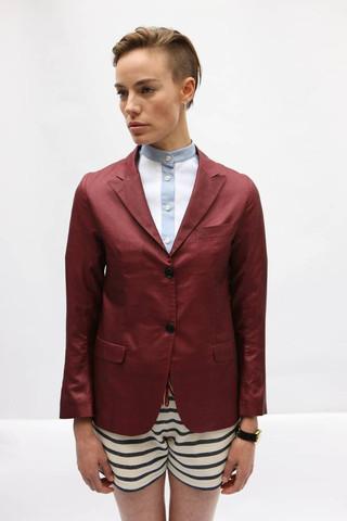 SJW Burgundy Silk Blazer. SJW.
