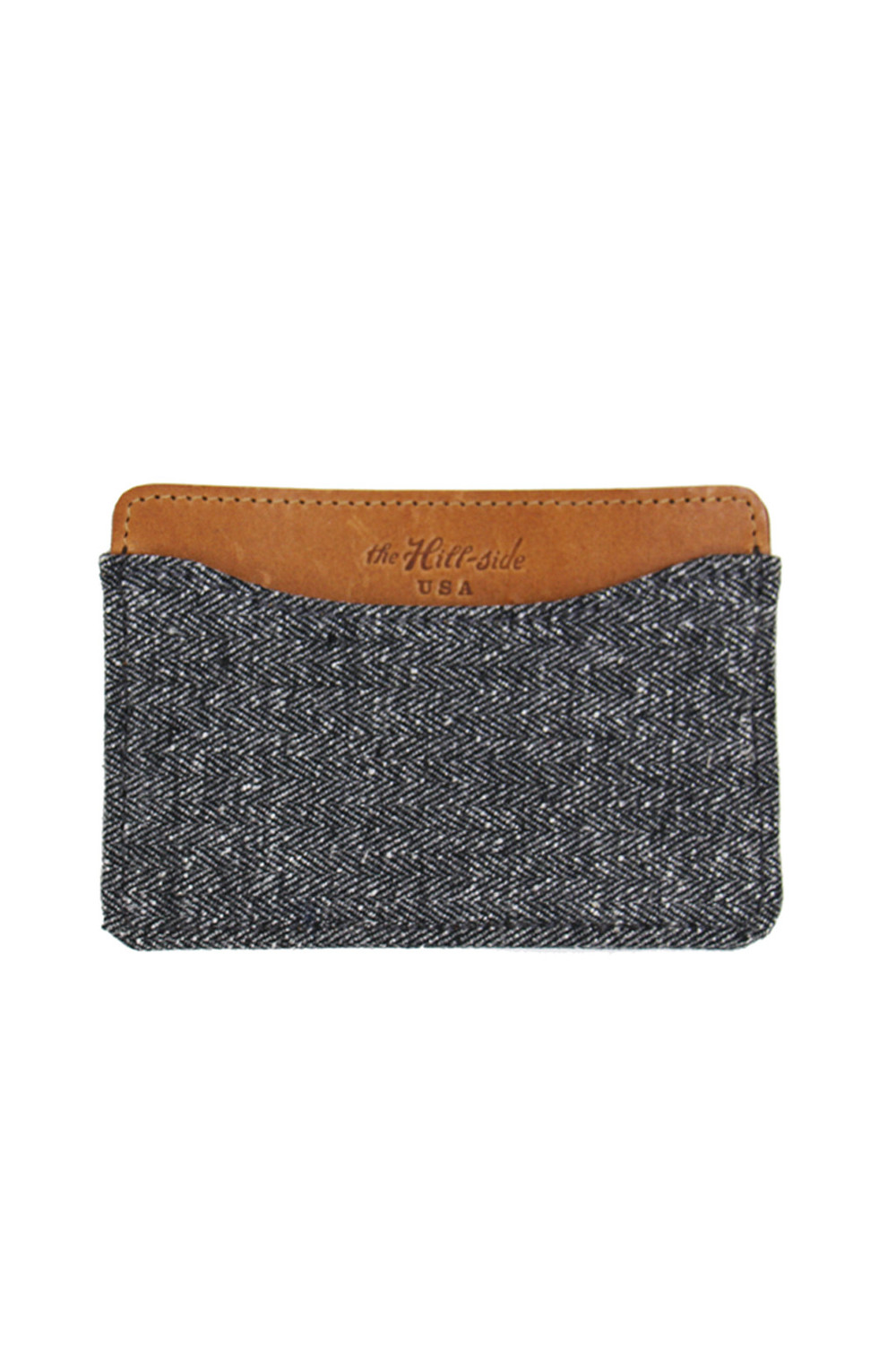The Hill Side Cotton Herringbon Grey Tweed Card Case. Hammer + Awl. $110.
