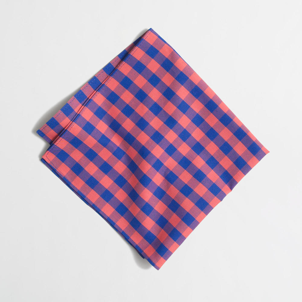 J Crew Outlet Gingham Pocket Square. Available in other colors/ prints. J Crew Outlet. Was: $24.50 Now: $14.50.