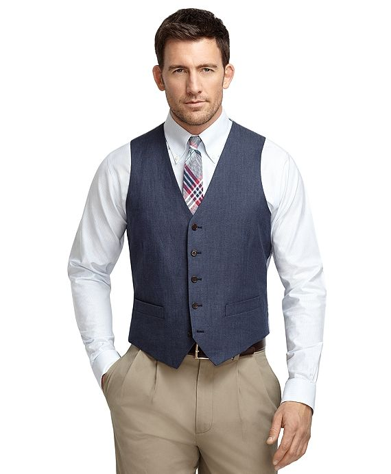 Navy Linen Herringbone Vest. Brooks Brothers. Was: $198 Now: $138.
