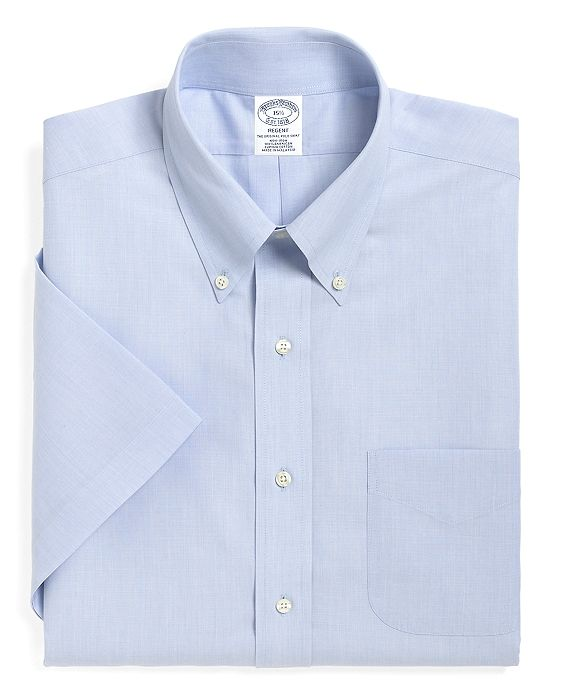 Men's No Iron Slim Fit Light Blue Short Sleeved Shirt. Brooks Brothers. $82 each or 3 for $229.