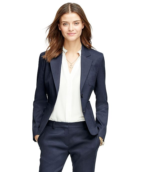 Women's Navy Blue Stellita Fit Two Button Linen Blend Jacket. Brooks Brothers. Was: $398 Now: $238.
