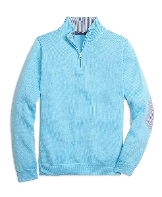 Boys Aqua Supima Cotton Half Zip Sweater. Brooks Brothers. Was: $89 Now: $53. Order XL.