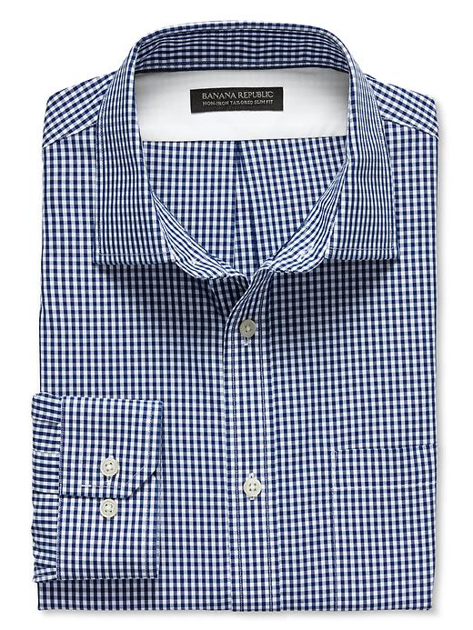 Men's Tailored Slim Fit Non Iron Blue Micro Gingham Shirt. Banana Republic. $79.50.