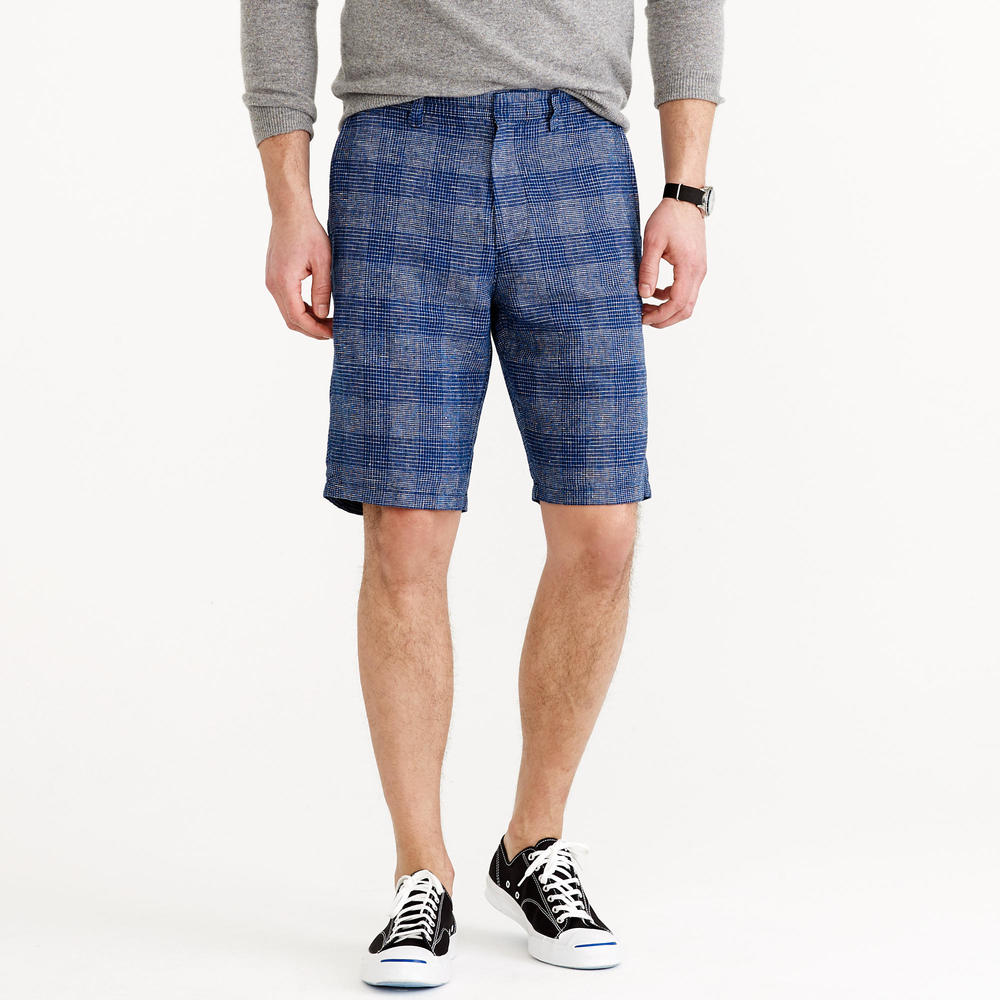 Men's 10.5 inch Club Short in Checkered Linen. J Crew. $75.
