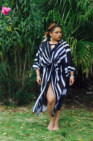"""Jagged Stripes"" Duster. Zelie for She. $55.00"
