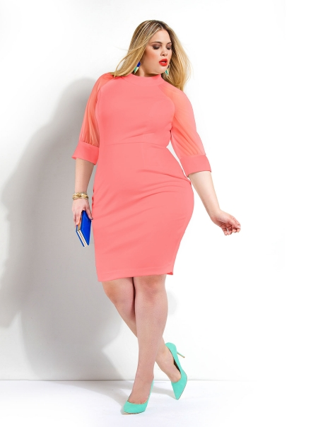 Kiera Mesh sleeve scuba Dress. Monif C. $148.00