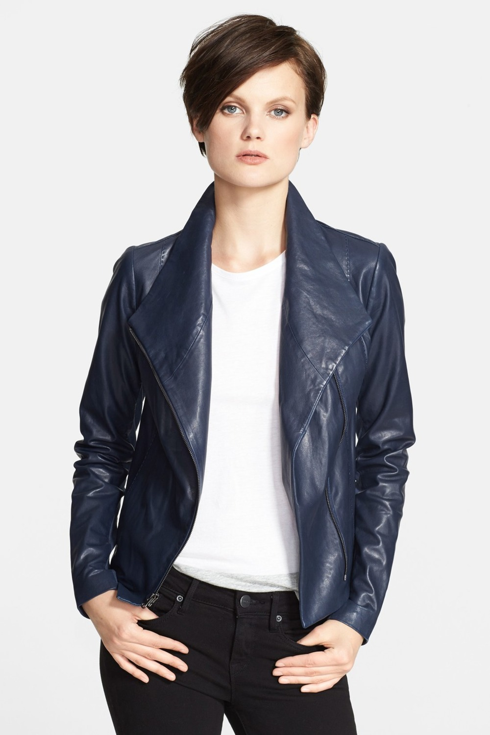 VINCE Lambskin Leather Scuba Jacket. Nordstrom Rack. Was: $995 Now: $348. in Mallard. This super awesome navy/purple also featured in the Poplin video. Same as the blue you purchased from the full line.