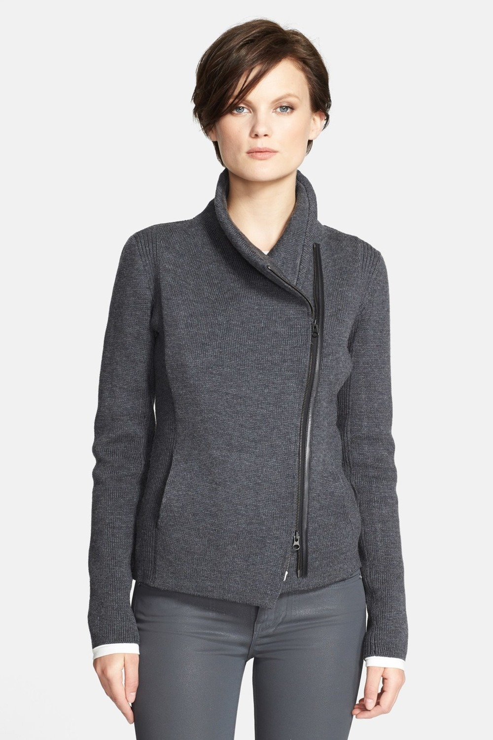 VINCE Sweater Scuba Jacket. Available in grey, black. Nordstrom Rack. Was: $465 Now: $219.