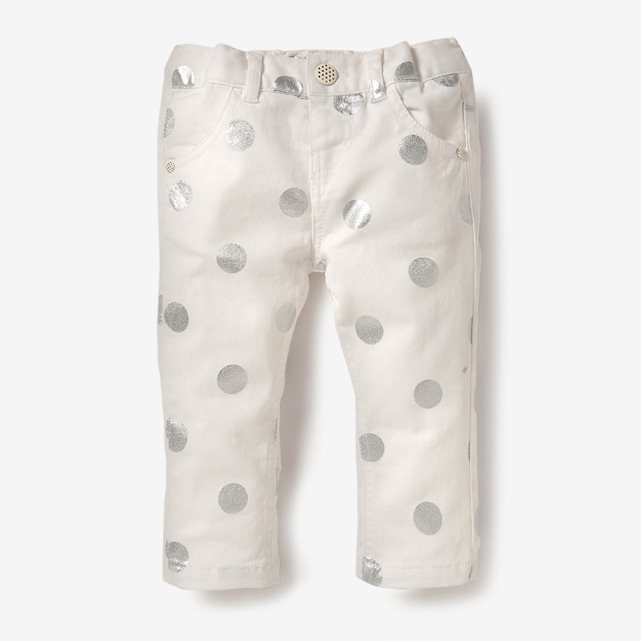 Baby Girl Polka Dot Print Stretch Denim Jeans Adjustable Waist. La Redoute. Now: $20.