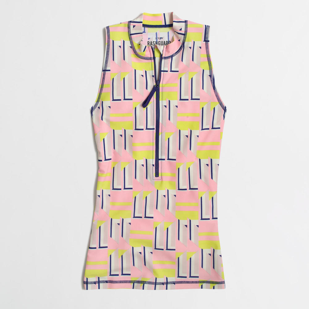 Factory Sleeveless Rash Guard in Geometric Shapes. J.Crew Outlet. Valued at: $64 Now: $26.50.