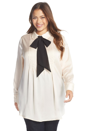 Melissa McCarthy Seven7, Bow Neck Tunic Blouse. Nordstrom. $89.00. Also comes in Black and Script