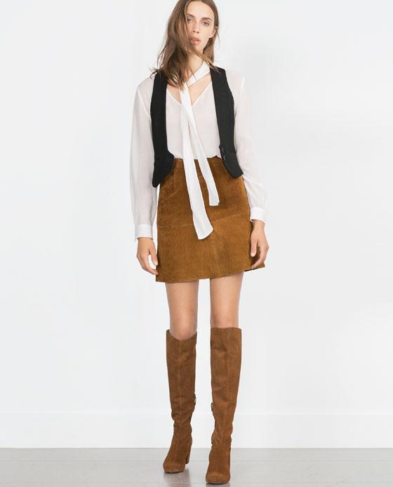 Suede Effect Skirt. Zara. $69.