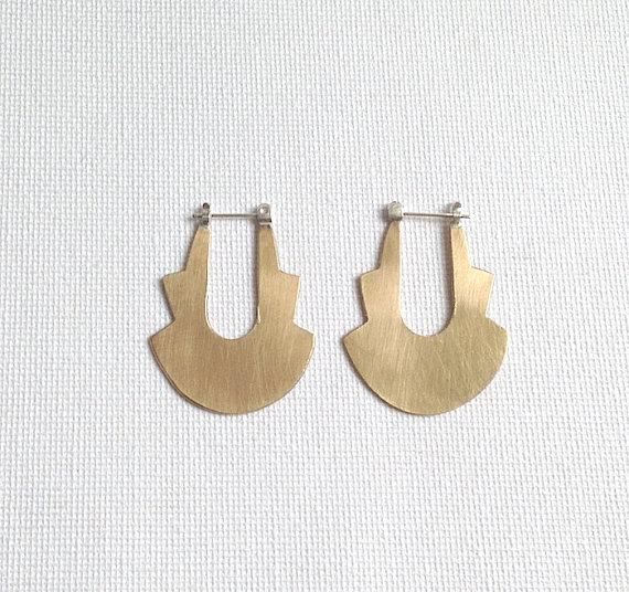 Canyon Hoop Earrings in Brass or Silver by KnuckleKiss. KnuckleKiss. $54.