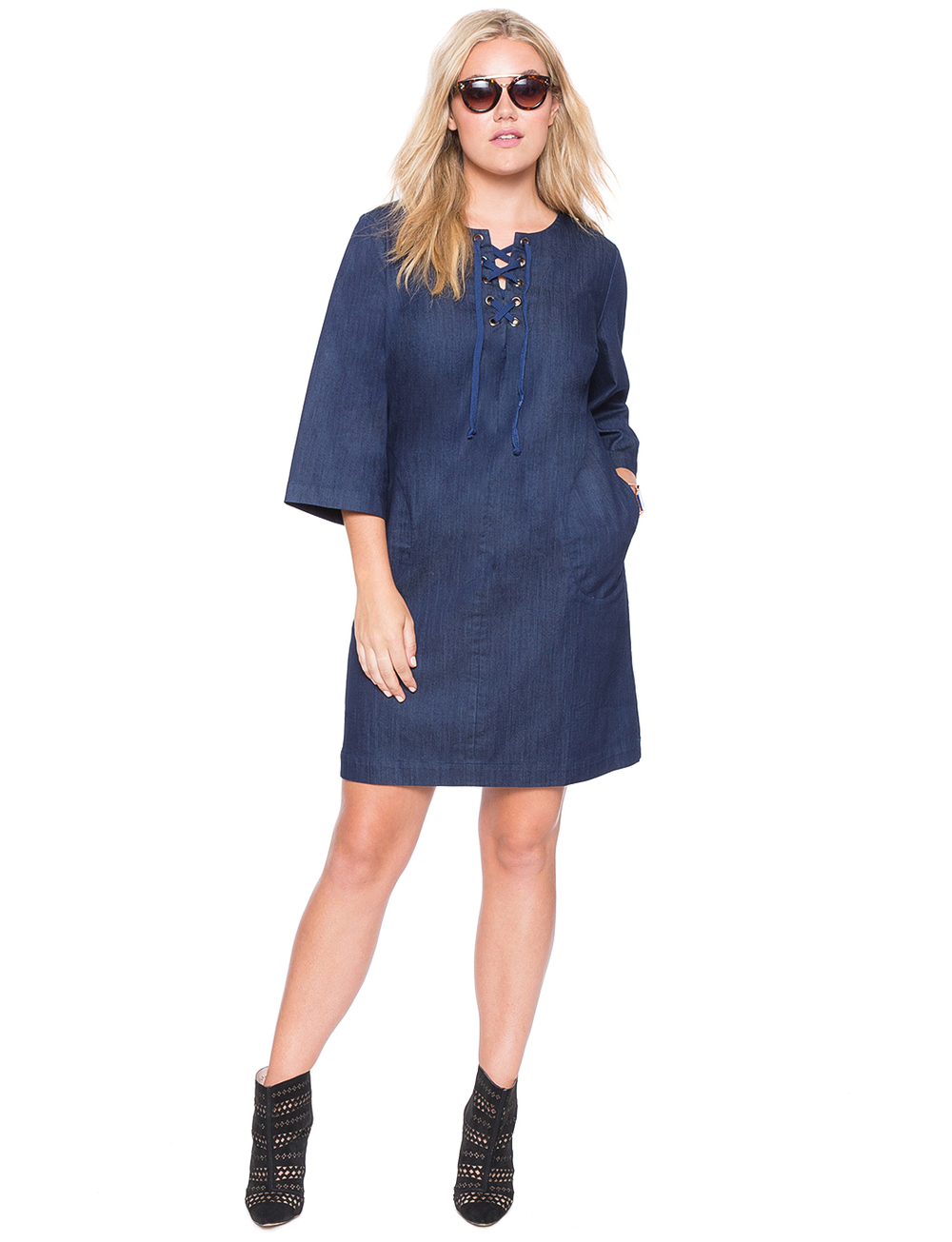 Laced Denim Dress. Eloquii. $89.90.