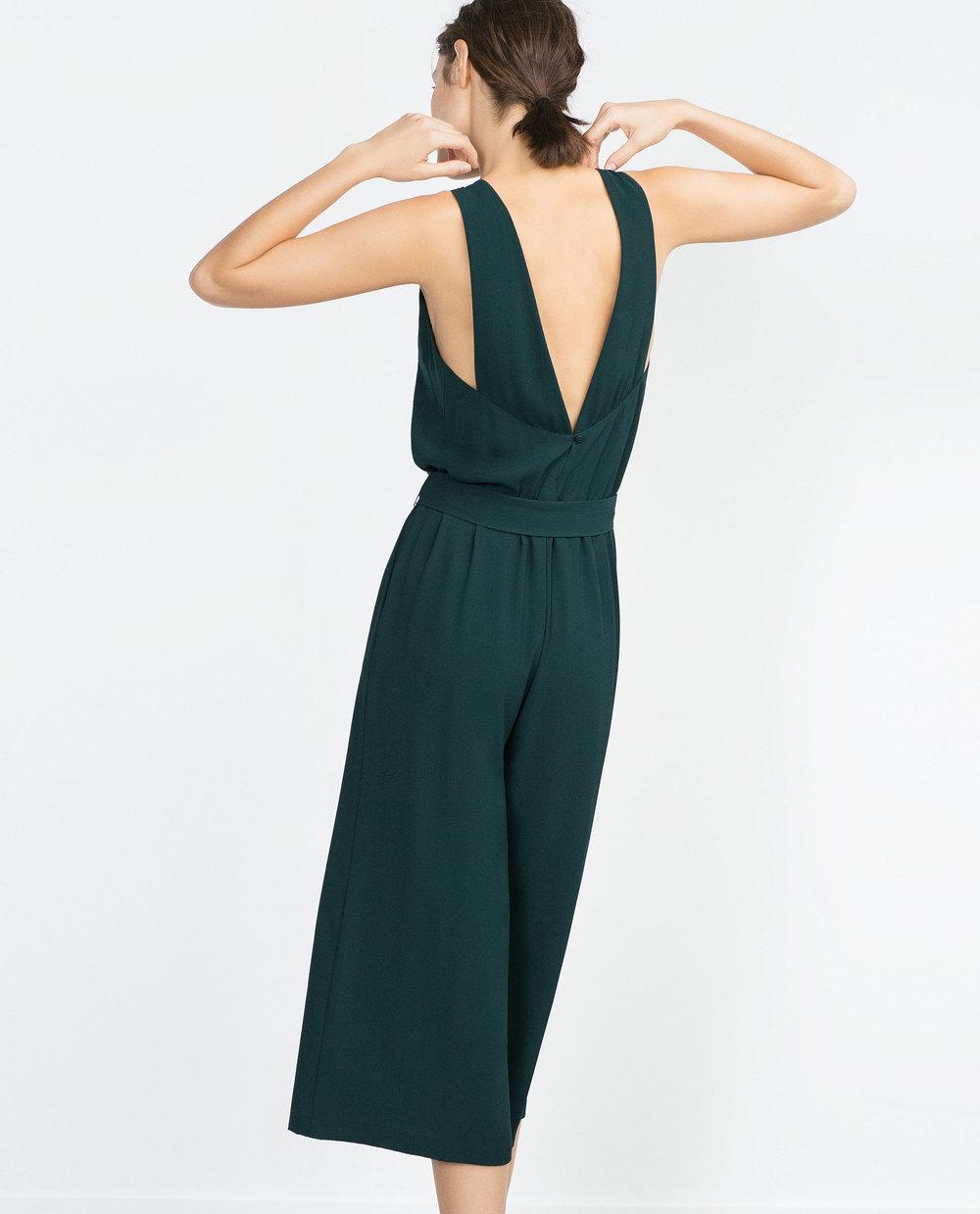 Fancy Cropped Jumpsuit. Available in dark green, dark red. Zara. $69.