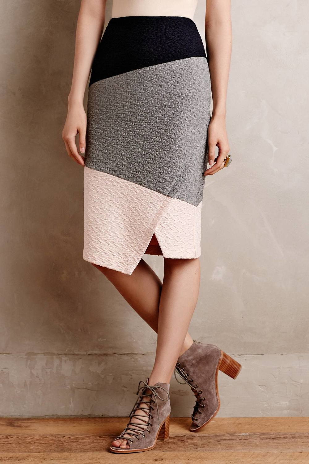 Colorblocked Pencil Skirt. Available in two color options. Anthropology. $98.