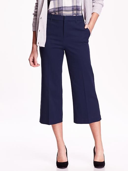 Tall High Rise Wide Leg Cropped Trousers. Available in navy, black. Old Navy. $34.