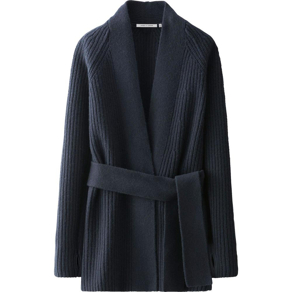 Lemaire Lambswool Long Cardigan. Available in cream, navy, green. Uniqlo. $59.
