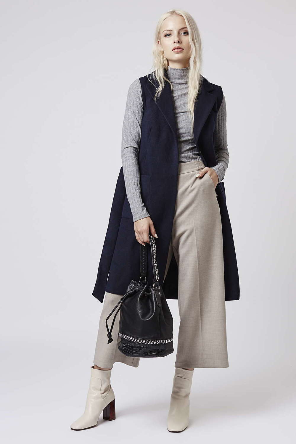 Tall Sleeveless Belted Coat. (Navy). Topshop. $95.