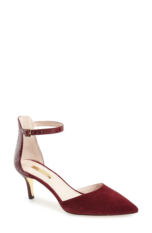 Louise et Cie Dillon Ankle Strap Pointy Toe Pump. Available in black, shiraz. Nordstrom. $118.