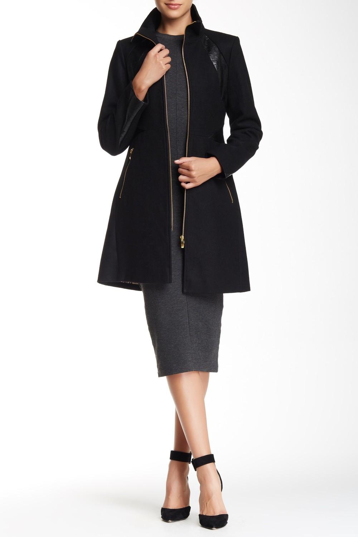 Via Spiga PU Trim Zip Front Wool Blend Coat. Nordstrom Rack. Was: $360. Now: $119.