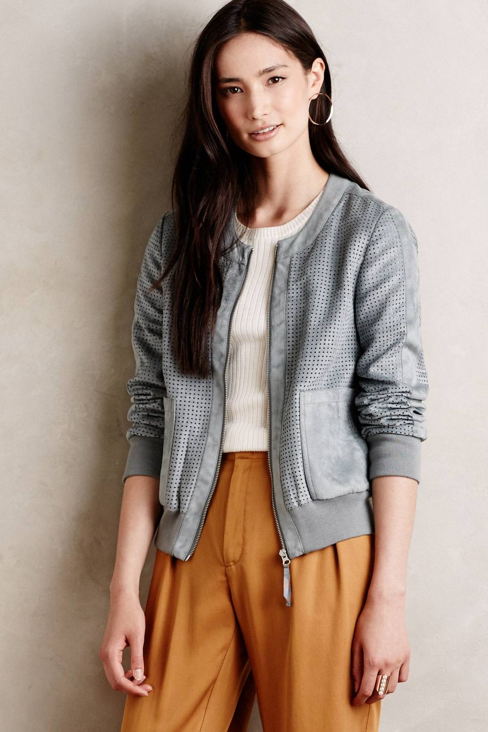 Vegan Suede Bomber. Available in grey, cream. Anthropology. $188.