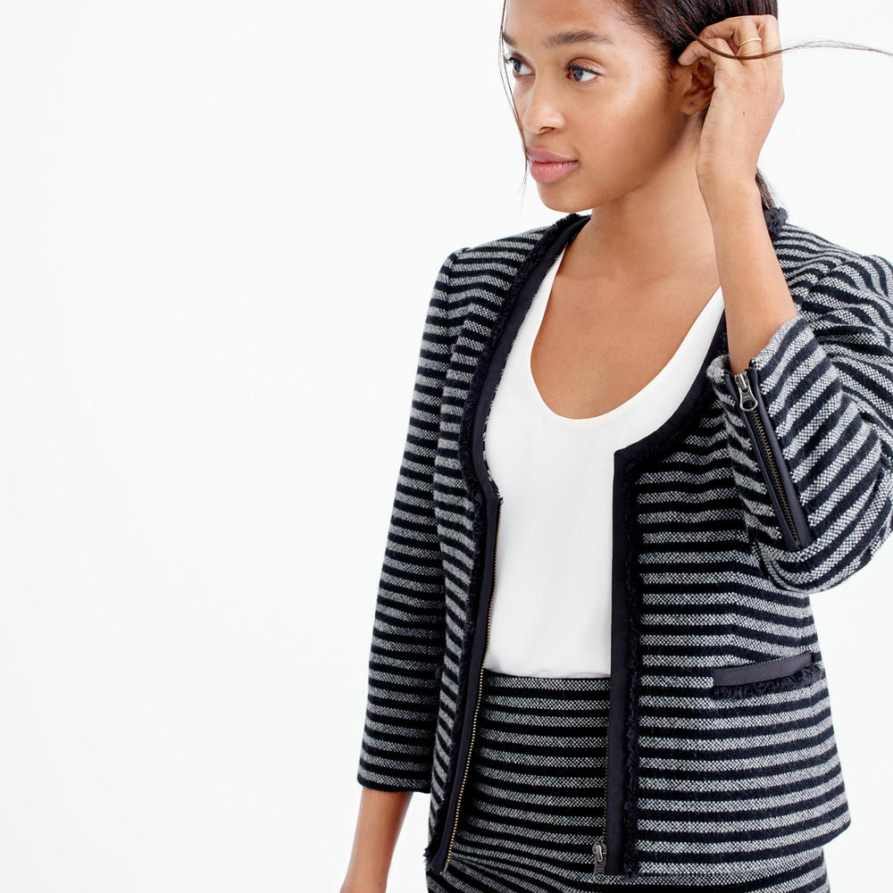 Striped Tweed Scoopneck Jacket. J.Crew. $198. Additional 30% off with code: WEEKEND.