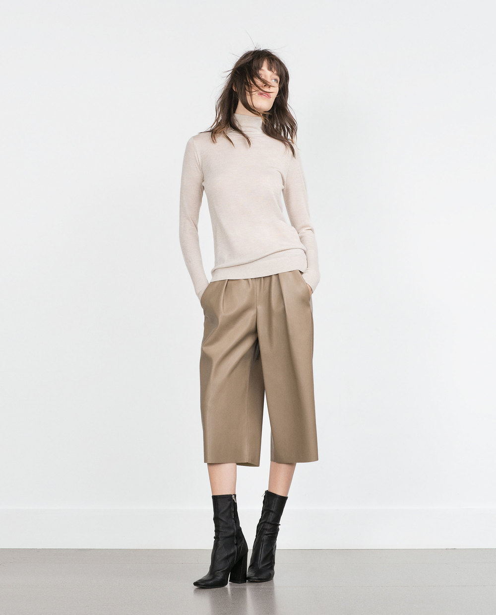 Faux Leather Culottes. Also available in black. Zara. $39.