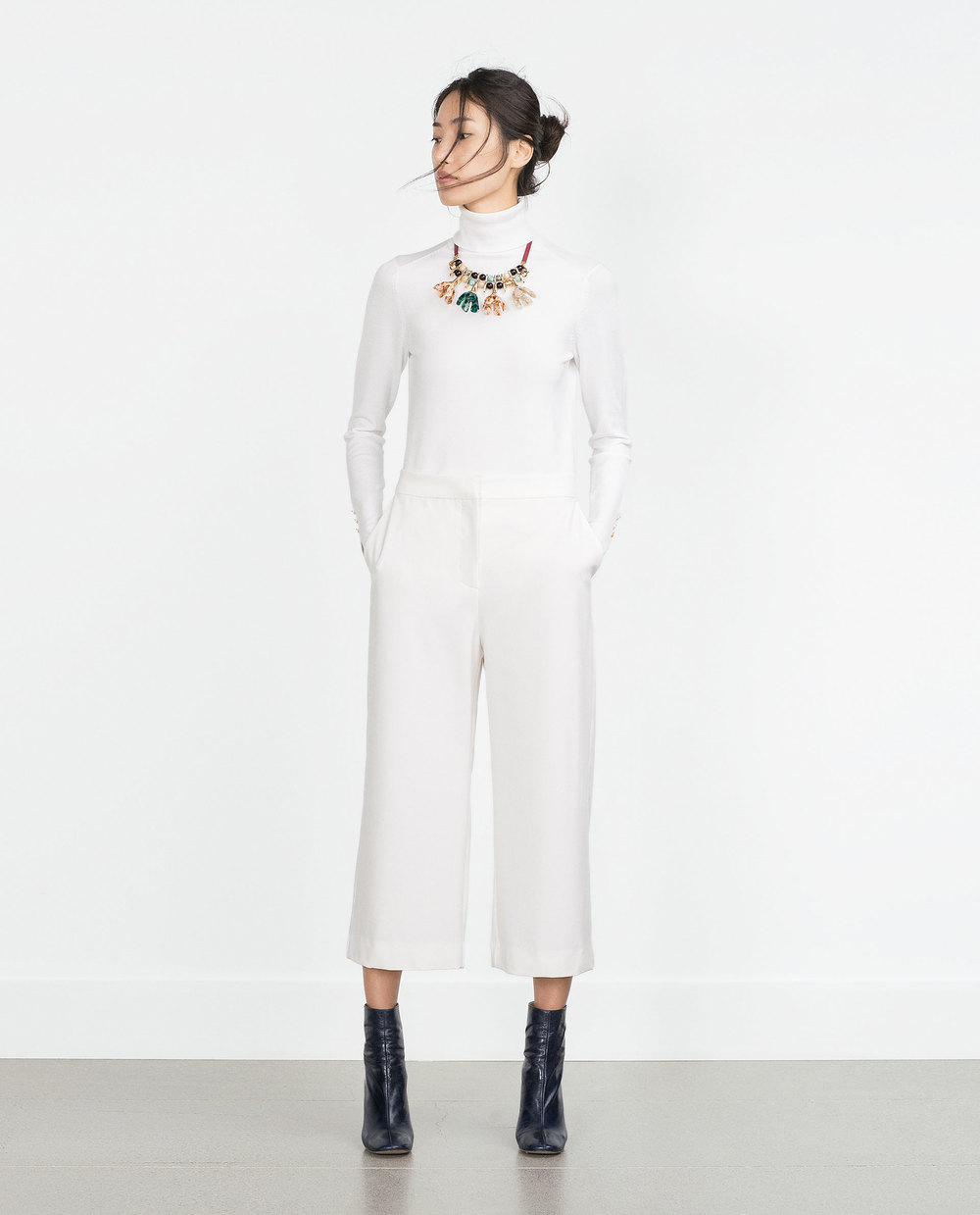 Ecru Straight Cut Trousers. Zara. $39.