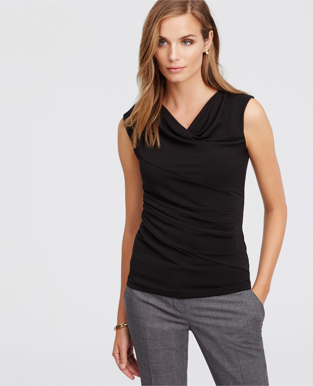 Petite Crepe Drape Neck Top. Available in black. Ann Taylor. $49.