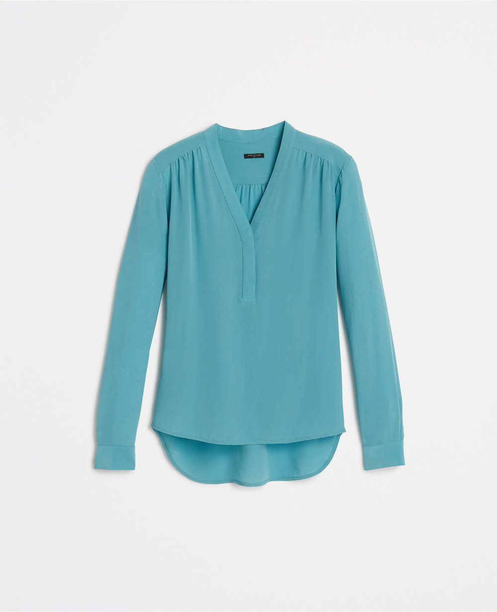 Petite V Neck Silk Blouse. Nordic Blue.Ann Taylor. $98.