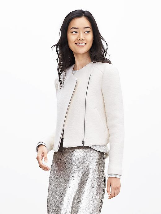 Petite Cream Boucle Zip Blazer. Banana Republic. $178. Potentially 40% off your purchase. Click for offer:)