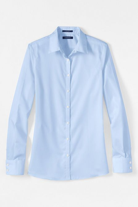 Long Sleeve No Iron Shirt. Land's End. Available in white, blue, pink. $49.